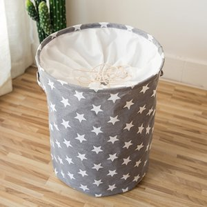 35*45CM Collapsible Laundry Basket Star Pattern Storage Basket Large Waterproof Linen Cloth Home Toy Clothes Storage Organizer T200602