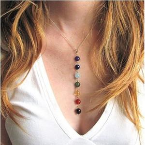 7 Chakra Perlen-hängende Halskette mit echten Steinen - Mala Y-förmige Kettenhalsketten -Reiki Chakra Healing Energieperlen Yoga Halskette
