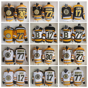 Men 77 Ray Bourque Jerseys Ice Hockey 30 Gerry Cheevers 17 Milan Lucic Boston Bruins Vintage Jersey CCM 75th Black White Yellow
