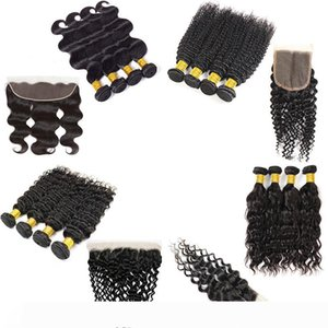 9A Brazilian Virgin Hair 4 Bundles with Closure Straight Body Wave Human Hair Bundles with Frontal Deep Water Wave Extensions Bulk Order