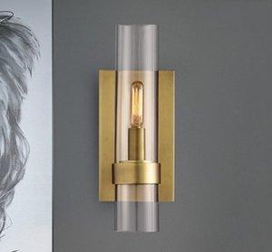 Lámpara de pared de cristal retro moderno Negro / oro del hierro del restaurante coñac Iluminación de interior Lámparas de leer luces de la pared Iluminación aplique LLFA