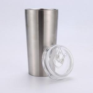 Bicchieri in acciaio inox 16OZ a doppia parete per l'isolamento sottovuoto tazze da vino con coperchi scorrevoli tazze portatili per auto all'aperto