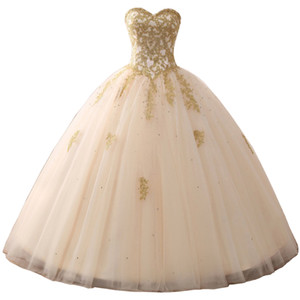 Long Princess vestidos de Quinceanera Dresses Gold Lace Applique Crystal Beaded Strapless Tulle Debutante Ball Gown Masquerade Prom Dress