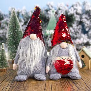 Weihnachten Sequin Faceless Dolls Dinnerparty Tabellen Ornaments Sequin Hat Faceless Puppe-Plüsch-Mann Gefüllte Urlaub Spielzeug 8styles LJJK1935