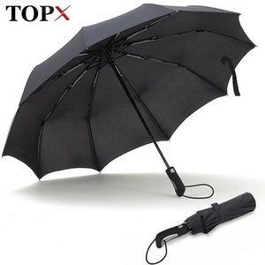 TOPX 2018 New Big Strong Fashion Windproof Men Gentle Folding Compact Fully Automatic Rain High Quality Pongee Umbrella Women Y200324