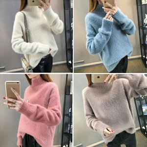 Chaud Mink Chandails de cachemire souple et pull-overs Femme Automne Hiver Pull à col roulé Sueter Mujer Pull Femme Pull Tops FS5703