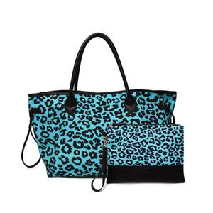 Toile Turquoise Leopard personnalisé fourre-tout Blanks gros léopard bleu sac à main femmes Cheetah sans fin Chaîne Sac Voyage DOM1061249