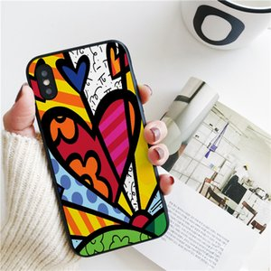 Coque Luxury Romero Britto Cat Cover for iPhone 11 Pro Xs Max Xr Case for iPhone 8 7 6s Plus 5S SE Case Soft Silicone Cover.