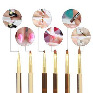 Gel 10pcs UV acrílico escovas de unhas Kit para Falso Nail Tips Builder Art Design Pintura Liner Pen Manicure Pen Ferramenta