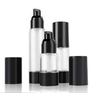 15 ml 30 ml 50MLClassic Black Vacuum Bomba Airless Garrafa Essência Cosmética Loção De Óleo Embalagem Garrafa Recarregáveis F2017486