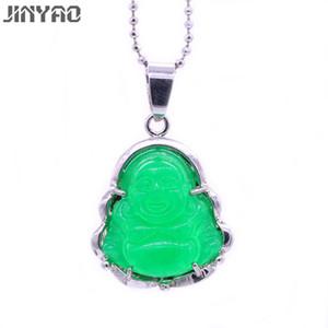 JINYAO Fashion Charm Smile face Buddha Green Stone Color Oro Blanco Collar Colgante Para Las Mujeres Joyería Lucky Regalo de Cumpleaños
