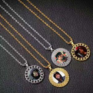 пользовательские фото ожерелье обледенелая картина кулон роскошный дизайнер bling алмазные подвески семья собака кошка фотографии ожерелья ювелирные изделия любовь подарок
