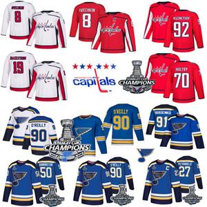 2018 19 champions de la Coupe Stanley St. Louis Blues Ryan O'Reilly Binnington Tarasenko Washington Capitals Alex Ovechkin Tom Wilson chandail de hockey