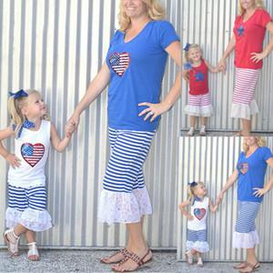 Moda Anne ve kızı Summer Dantel Kolsuz Üst + Pantolon Aile Giyim Kadınlar Kız Kıyafetler Casual