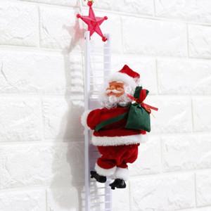 Électrique Père Noël Escalade Échelle Poupée Décoration en peluche poupée jouets électriques pour enfants Xmas Party Accueil Porte Décoration murale LXL957-1