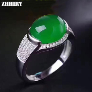 Zhhiry Real Natural Green Chalcedony Ring Genuine Solid 925 Sterling Silver For Woman Big Jade Gemstone Rings Fine Jewelry J190612