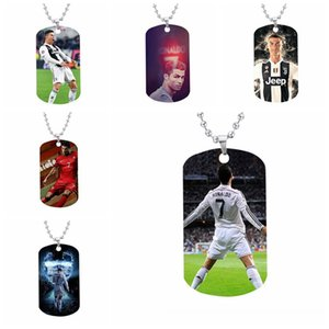 World Trophy Football Star European C Ronalce Charm Stainless Steel Military Tag Necklace for Sport Fans Custom Pendant Necklace