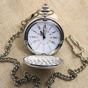 Hot Sell Fashion Vintage Silver Polished Roman Dial Pocket Watch,Sweater Chain 100pcs lot wholesale
