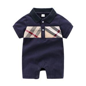 Baby Designer Clothes Summer Full Moon Boy Plaid Romper Climbing Clothes Outdoor Wear Jumpsuit Newborn Short Sleeve infant Onesie S250