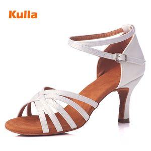 Dancing Shoes profissionais Dança Latina Sapatos mulher branca da menina das senhoras de cetim Jazz Ballroom Partido Salsa sapatos de dança de 5cm / 7 centímetros do salto