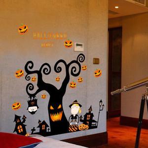 3D Хэллоуин тыква фонарь ночь дерево стикер стены Спальня Гостиная пол наклейки Декор окна Виниловая наклейка