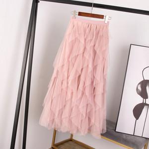 Mode vintage Tutu Femme Tulle Jupe Femmes Jupe plissée Printemps Eté longue Maxi Noir Rose taille haute plissé Femme