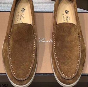 Suede Leather Mens Loro Walk Zapatos Zapatillas de Lujo Sneakers Nubuck Diseñador Pisos Vestido de ocio Zapato Oficial Tamaño grande 45 46