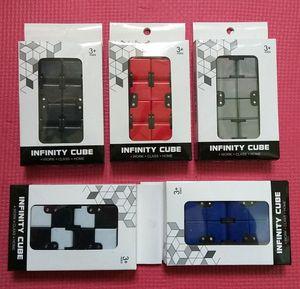 Magic Fidget Infinity Cube Antistress Giocattoli per le dita Ufficio Flip Cubic Puzzle Mini blocchi Decompressione Giocattoli divertenti Nero Bianco Blu Rosso Grigio