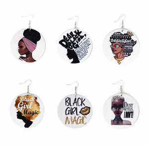Горячая Продажа Африканского Afro печатающей головки Деревянных серьги Eardrop Мода Letter Pattern Round Charm мотаться Вуд Крюк уха серьги для женщин