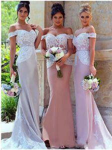 Blush Elegant Mermaid Bridesmaid Dresses 2020 Off Shoulder Applique Long Floor Length Wedding Guest Gowns Maid of Honor Dresses