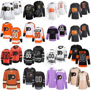 Kundenspezifische Kämpfe Krebs Philadelphia Flyer Hockey 19 Nolan Patrick Jersey 13 Kevin Hayes 15 Matt Niskanen 6 Travis Sanheim 5 Philippe Myers