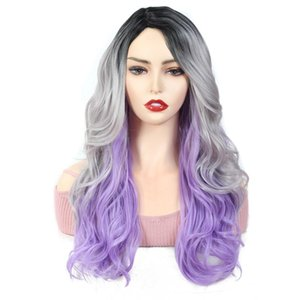 X-TRESS Black Gray Purple Colored Wavy Synthetic Wig Side Part High Temperature Fiber Hairstyle For Women Fashion Trendy Wigs