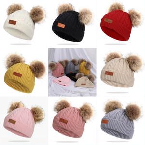 Hiver Bonnet bébé Bonnet et Twist Double Raccoon cheveux balle Chapeau Bubble Sucrerie Ski Cap Fille Garçon N6Z