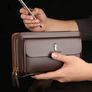 Large Capacity Men's Wallet Clutch Bag High Quality Men Wallet Purse Double Zipper Handbag Long Wallet Card Holder PU Bag Male