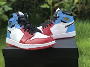 2019 nouvelle version 1 haute OG Fearless rouge bleu hommes chaussures de basket-ball 1S CK5666-100 UNC baskets en cuir verni de sport de Chicago