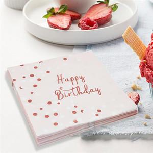 16pcs Rose Joyeux anniversaire Serviettes Dorure points imprimés tissu dîner papier serviette Party Supplies