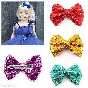 4 Inç Çocuk Sequins Hairbow, Bebek Kız Saç Yay Ile Klip Çocuklar Firkete Saç Aksesuarları Saç Klip 15 renk
