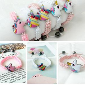 어린이 RRA2263를 들어 유니콘 뜨개질 팔찌 5 개 스타일 키즈 동물 액세서리 아기 소녀 귀여운 보석 펜던트 체인 선물