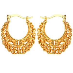 I più nuovi orecchini a cerchio alla moda del cerchio oro reale 18K del rame placcato d'epoca per le donne di moda mogli Gioielli di pallacanestro orecchini E360