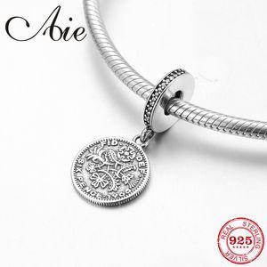 Penny patrón 925 Plata Esterlina fina Colgantes Beads Fit Pandora Original Charm Bracelet Jewelry making 2018
