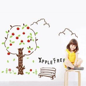 Sevimli Elma Ağacı Duvar Sticker İçin Çocuk Bebek Odası Salon Yatak odası Arkaplan Dekorasyon Duvar Duvar Kağıdı Çocuk Çıkartma