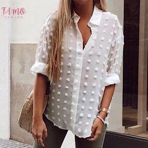 Womens Tops And Blouses Elegant Long Sleeve Chemise Femme Polka Dot Loose Ol Shirt Ladies Chiffon Blouse Dames Feminina