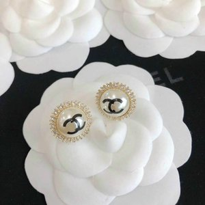 high quaity new arrival women designer stud earring brooch earring with daimond and pearl for women wedding jewelry gift hot sale