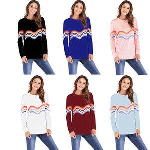 2019 T-shirt a maniche lunghe con collo rotondo a maniche lunghe a righe colorate da donna europee e americane autunnali transfrontaliere