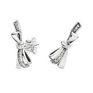Стерлинговые серебряные серебряные серебряные серебряные серьги Bowknot Bowknot Серьги из оригинальной коробки для Pandora Великолепный бант Женщины Роскошные дизайнерские серьги