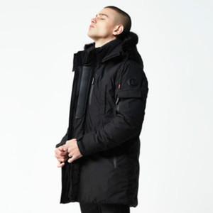 Designer Giù parka Uomo Fahsion solido di colore lungo inverno Giù Mens spesso incappucciato antivento Giacche Uomo di lusso giù abbigliamento Coat