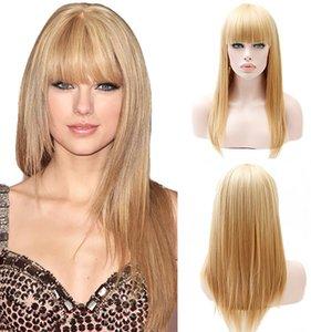 Europee e americane parrucca dorata delle donne lungo rettilineo dei capelli popolare di nuovo stile Qi Liu Hai parrucca femminile Copricapo fabbrica Spot capelli