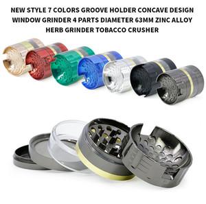 Herb Grinder 5layers 63mm Çinko Alaşım Metal Bitkisel Öğütücüler Groove İçbükey Şeffaf Açık Pencere Can Accories Sigara paranteze