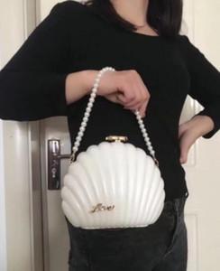 Camellia VIP hediye çantası Yapay elmas çanta Şık Beyaz İnci Shell Omuz Paketi Moda Partisi Bag kakmalı