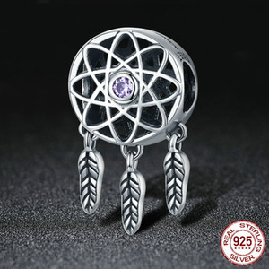 China Factory Wholesale 925 Sterling Silver Paved Cz Dreamcatcher Charms Beads For Bracelet Jewelry Making DIY Accessory Girl Birthday Gifts